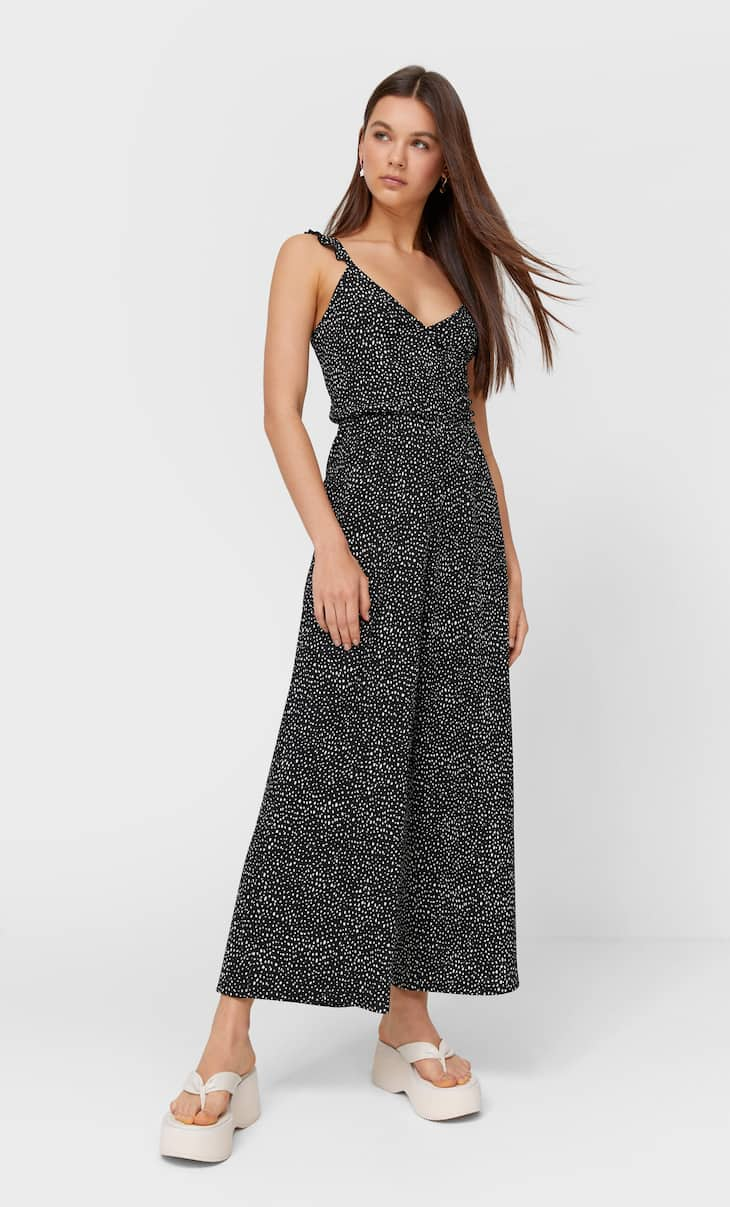 Strappy jumpsuit with confetti print