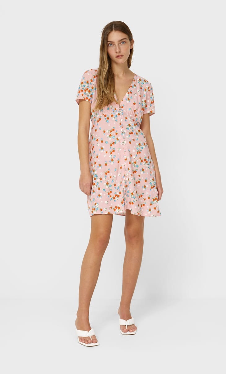 Short floral buttoned dress