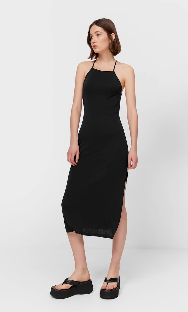 Midi dress with low-cut back