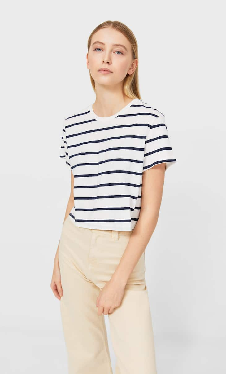 Nautical stripe cropped T-shirt