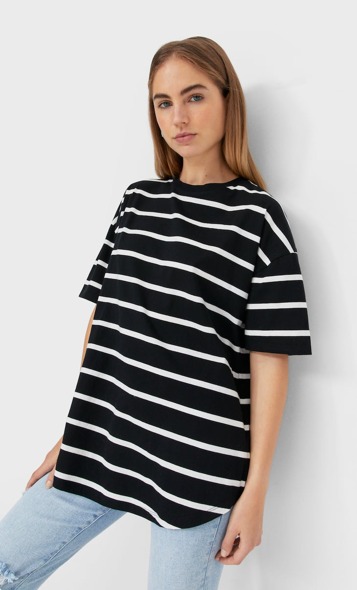 Long basic striped T-shirt