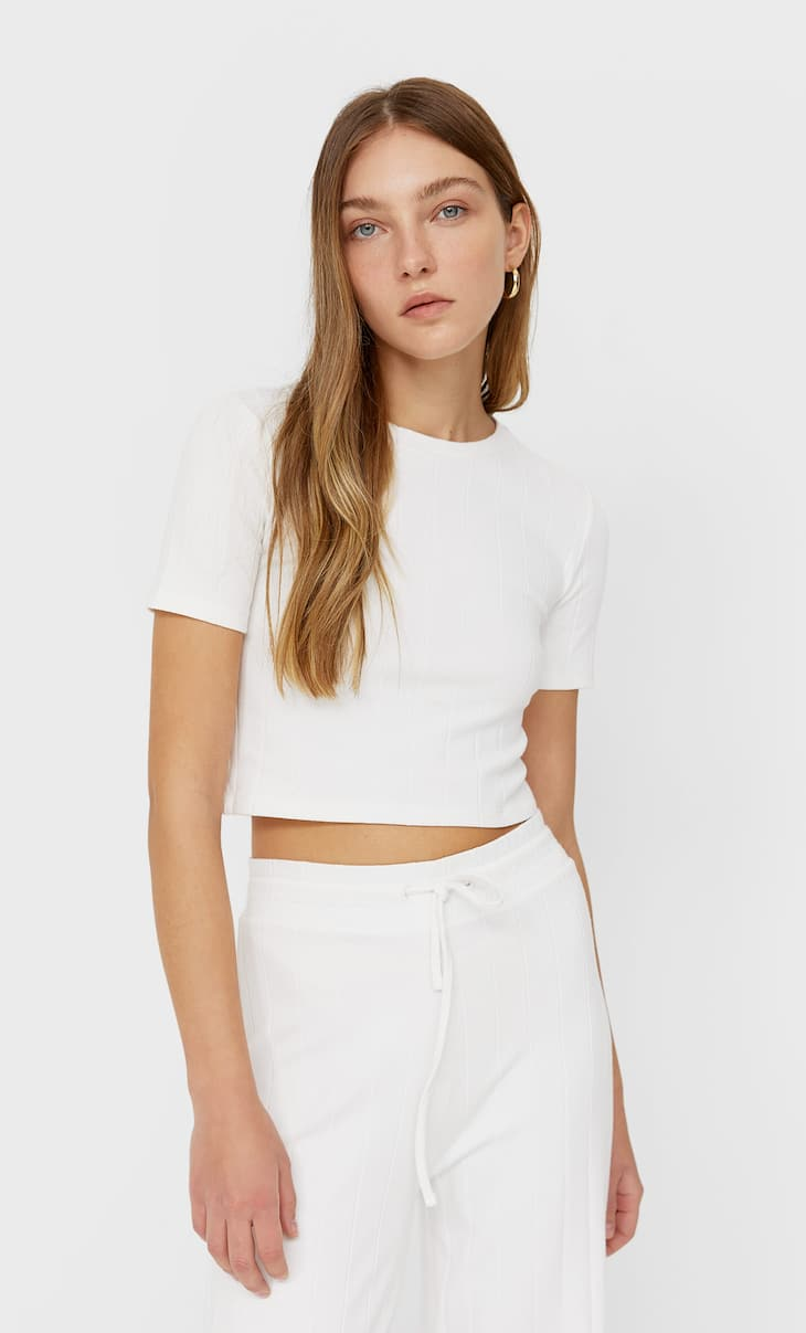 Cropped ribbed T-shirt