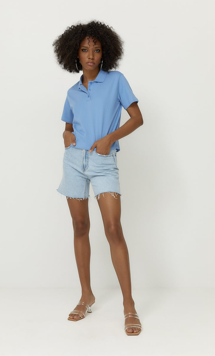 Basic cropped polo shirt