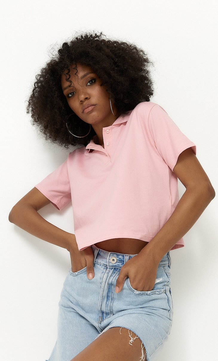 Basic crop fit polo t-shirt