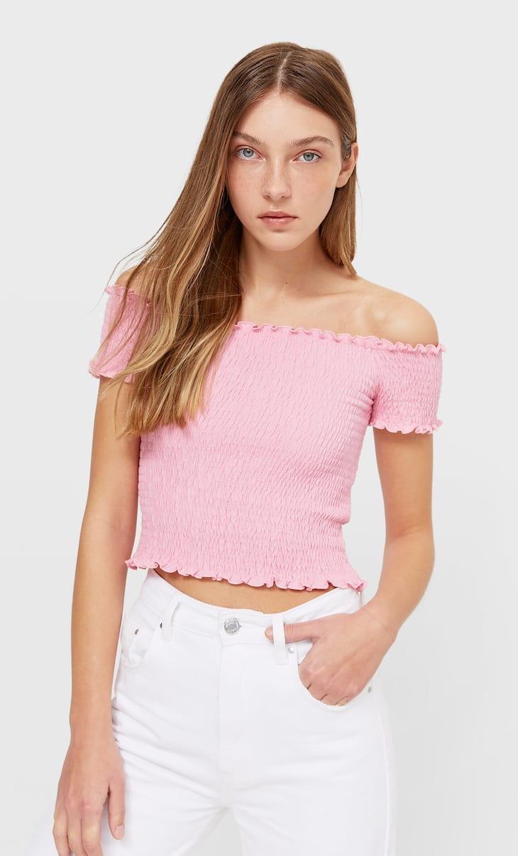 Off-the-shoulder T-shirt with elastic
