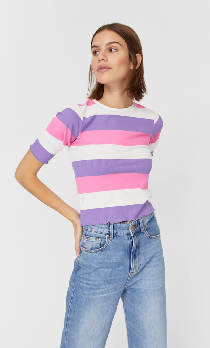 Striped scalloped top