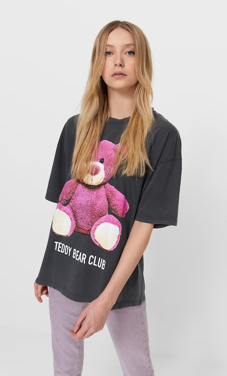 Acid wash teddy T-shirt