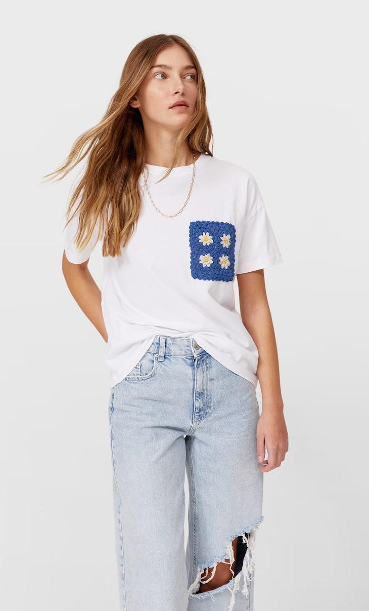 Kroşe örgü cepli t-shirt