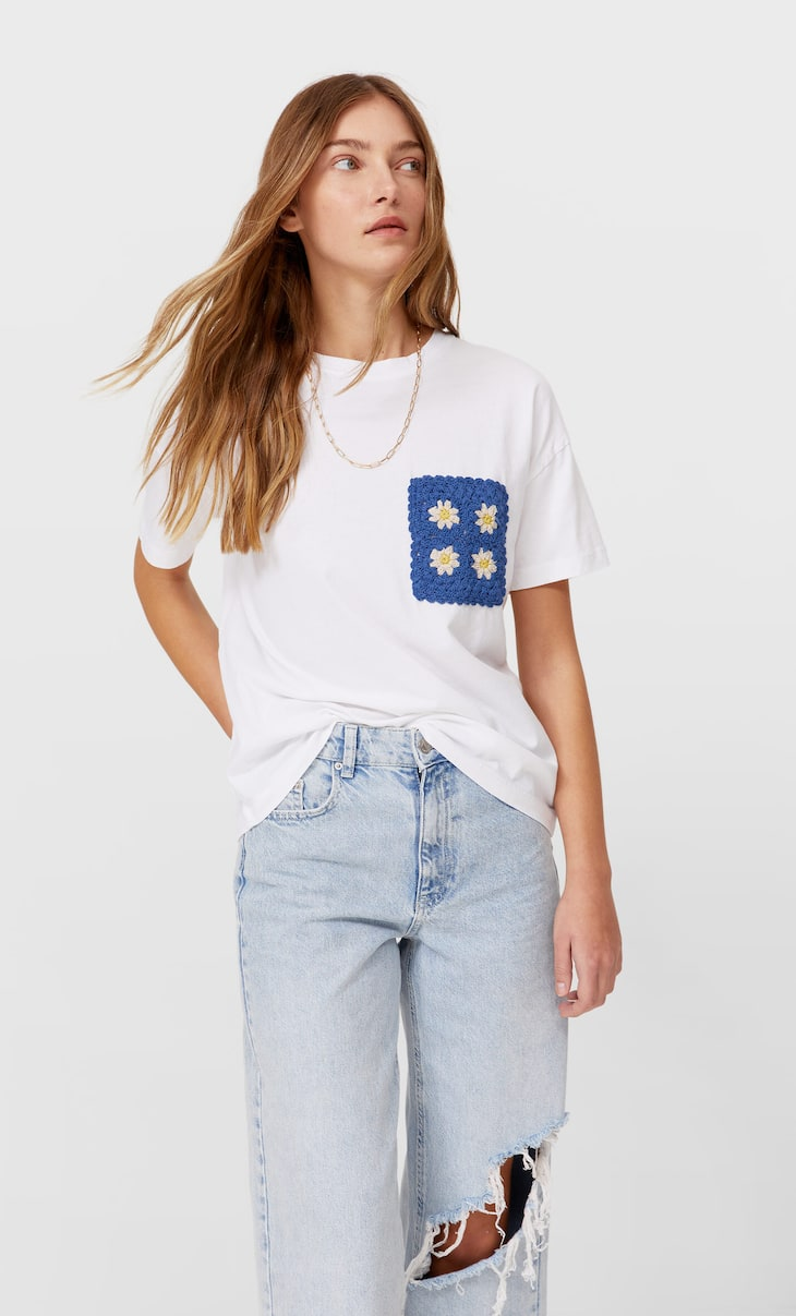 Camiseta bolsillo crochet