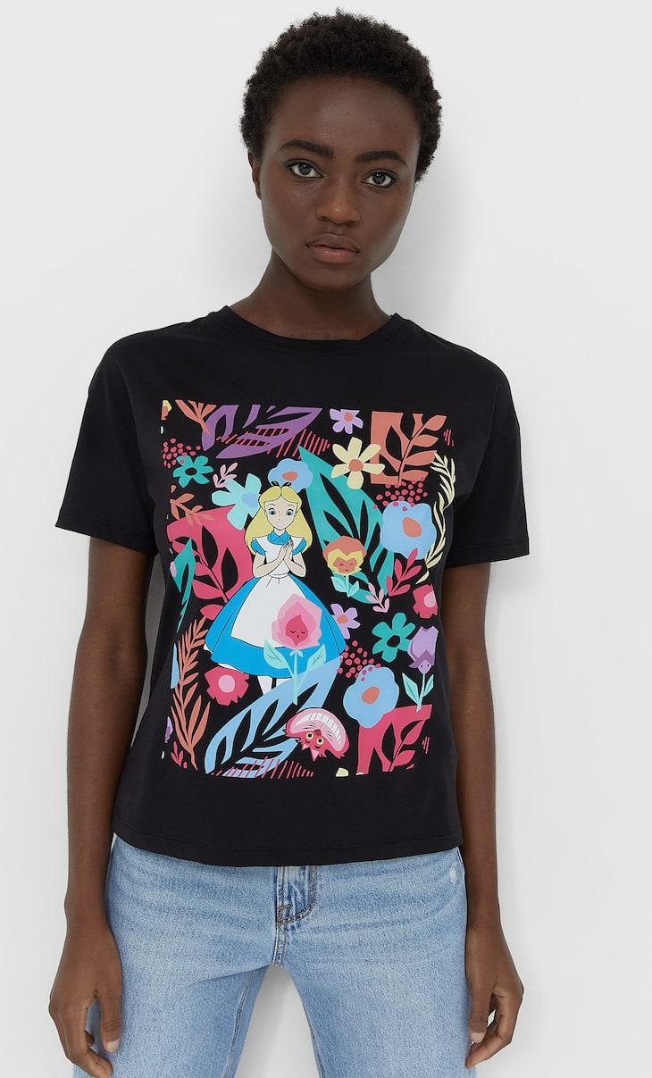 Alice in Wonderland baskılı t-shirt