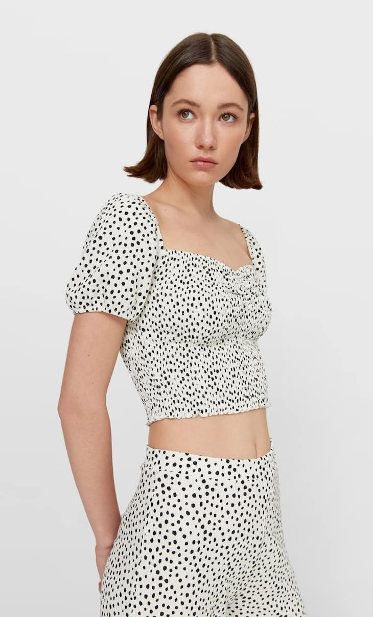 Printed shirred top