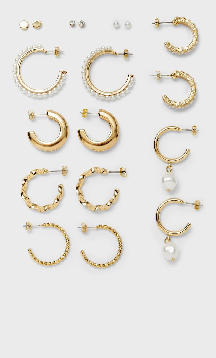 Set of 9 pairs of pearl bead earrings and hoops