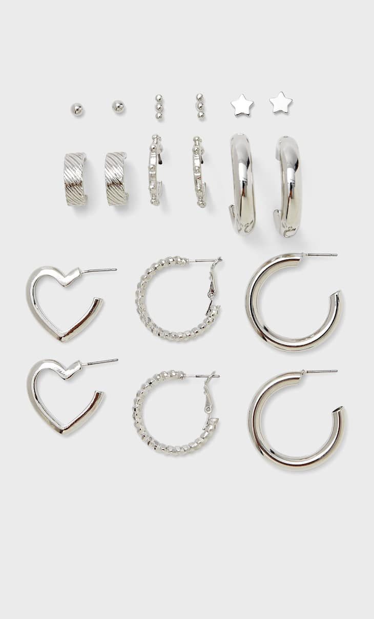 Set of 9 pairs of heart hoops and earrings