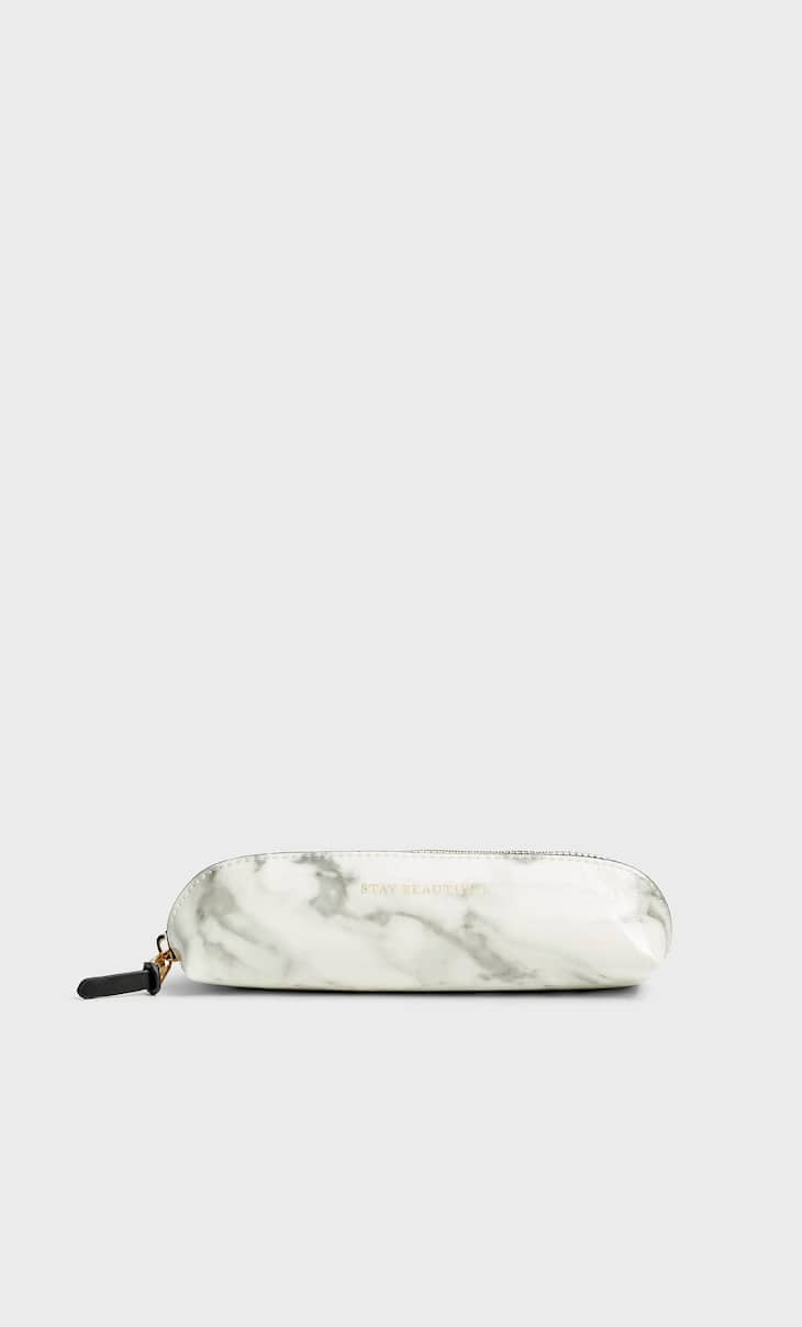 Faux patent finish marble pencil case