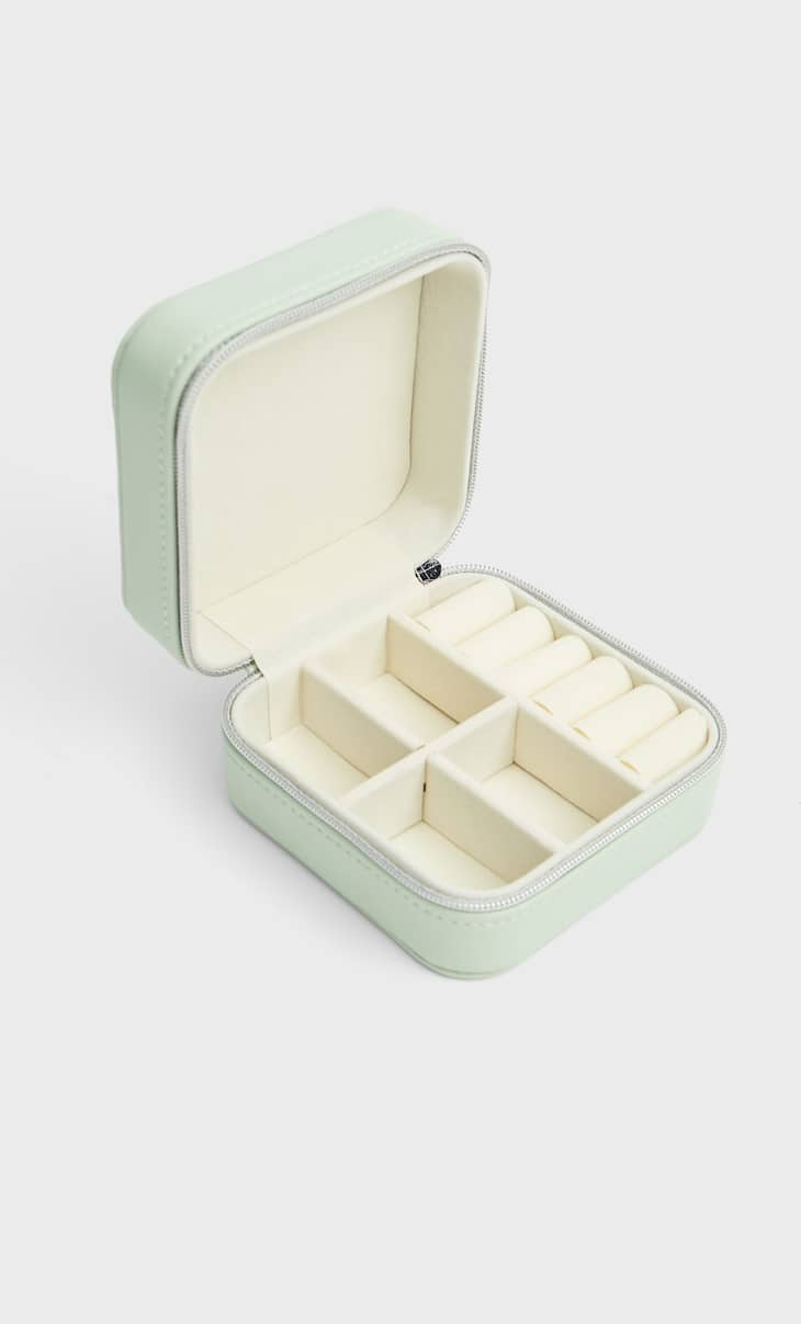 Square faux leather jewellery box