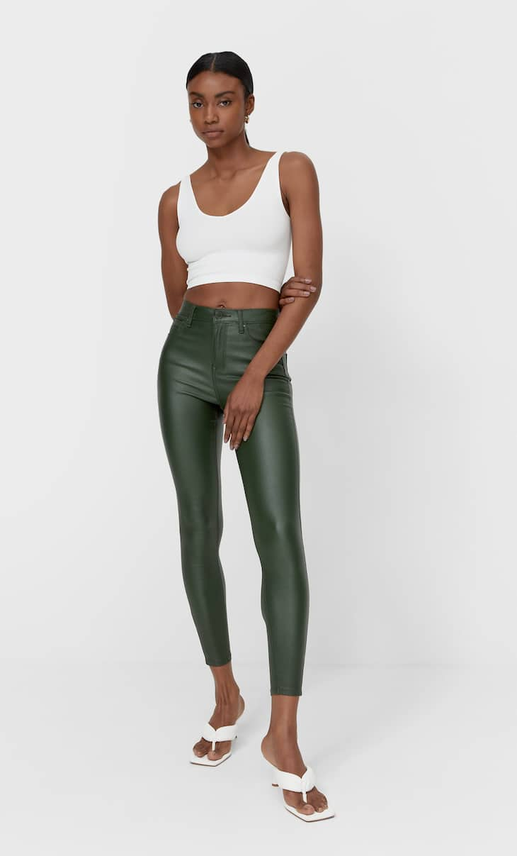 Coated high-waist trousers