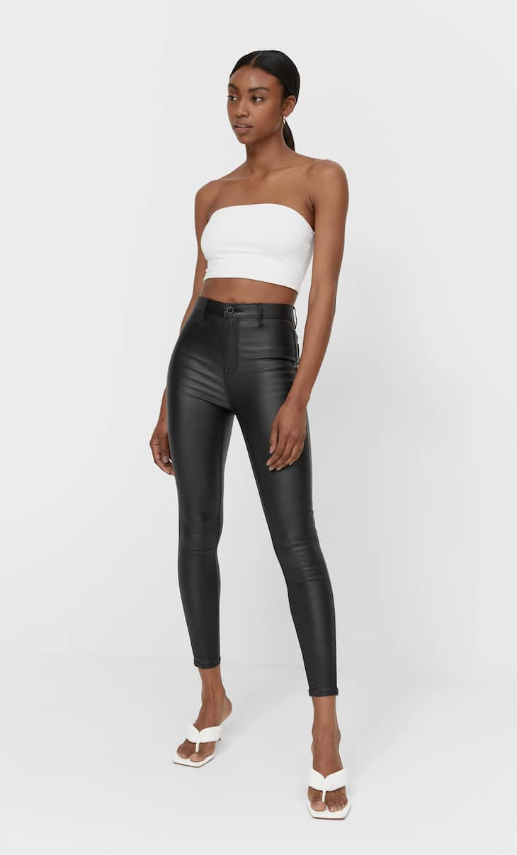 Super high waist coated trousers