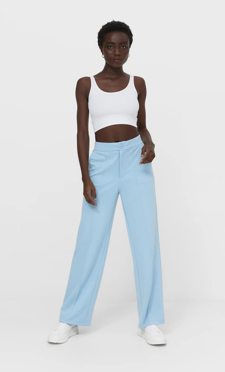 Wide-leg knit trousers