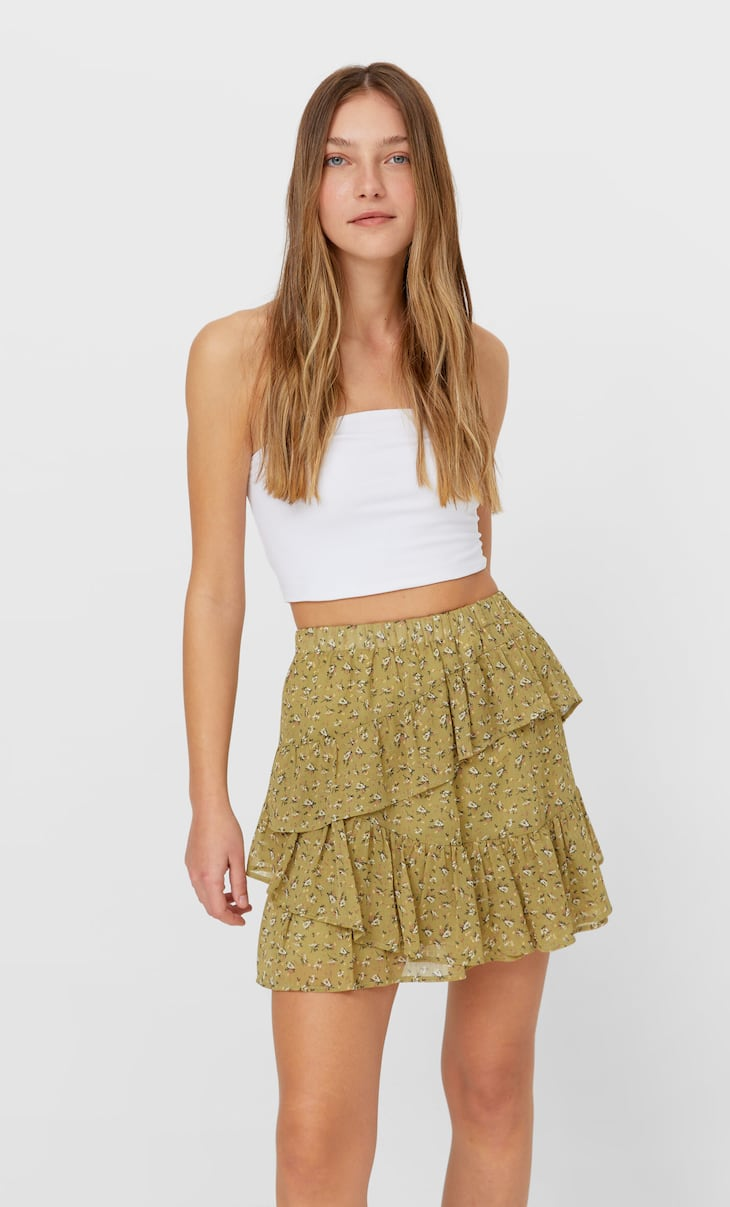 Frilled mini skirt