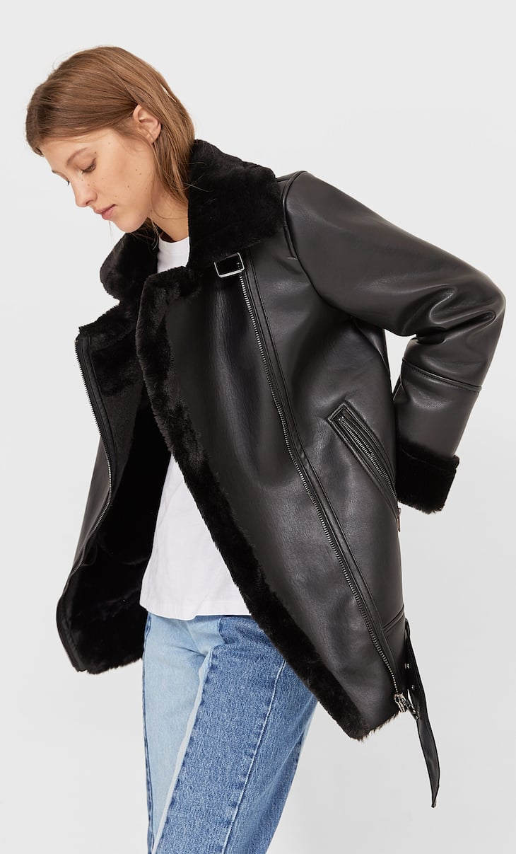 Faux leather double-faced biker jacket