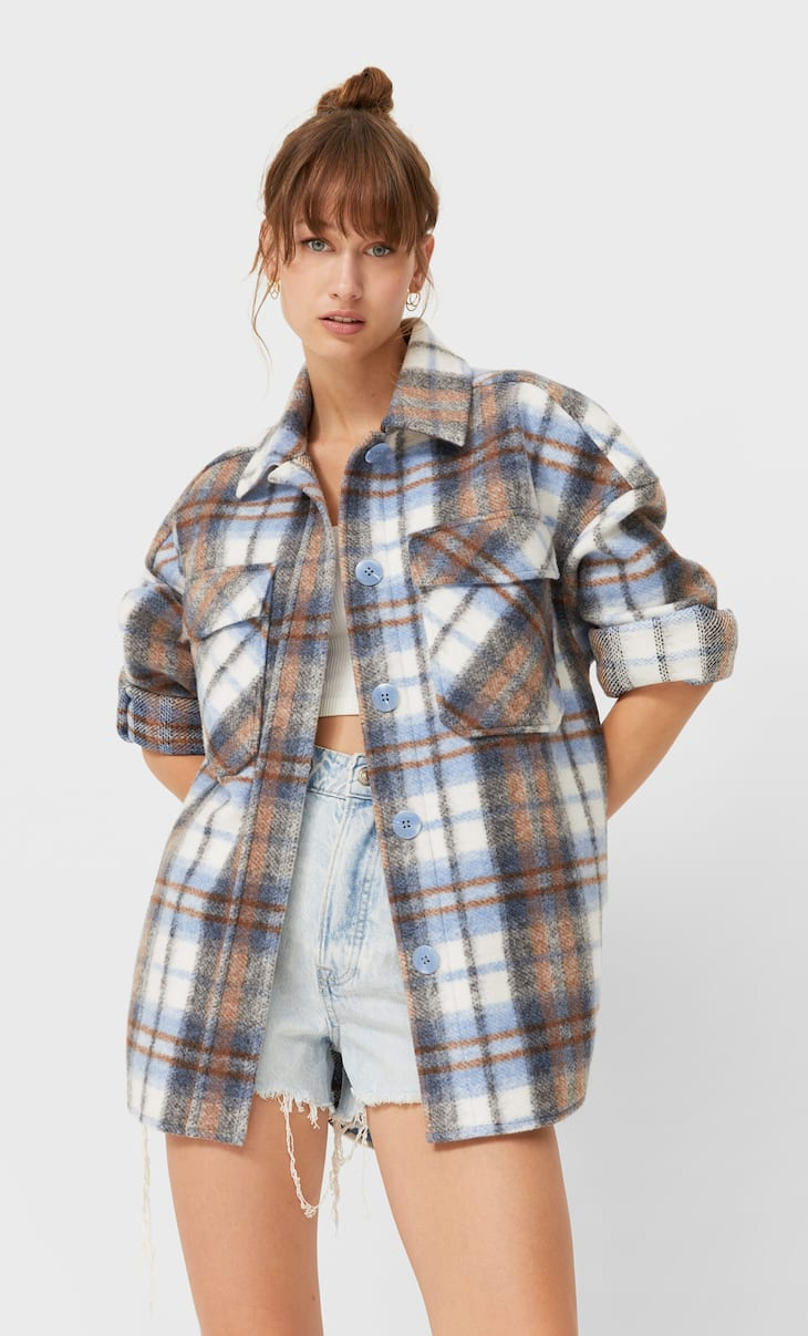 Check knit overshirt