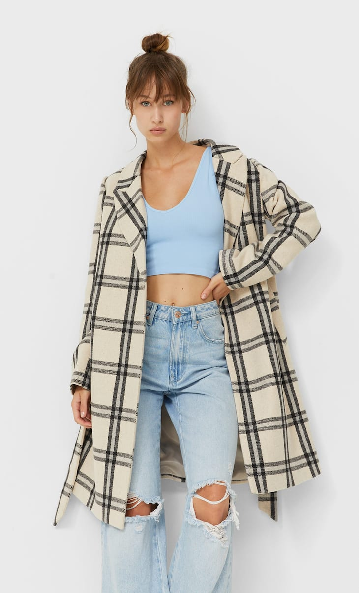 Check coat with belt