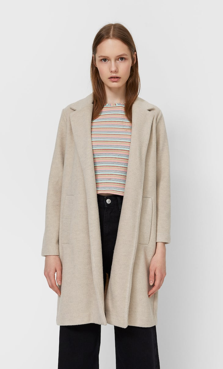 Napped knit coat