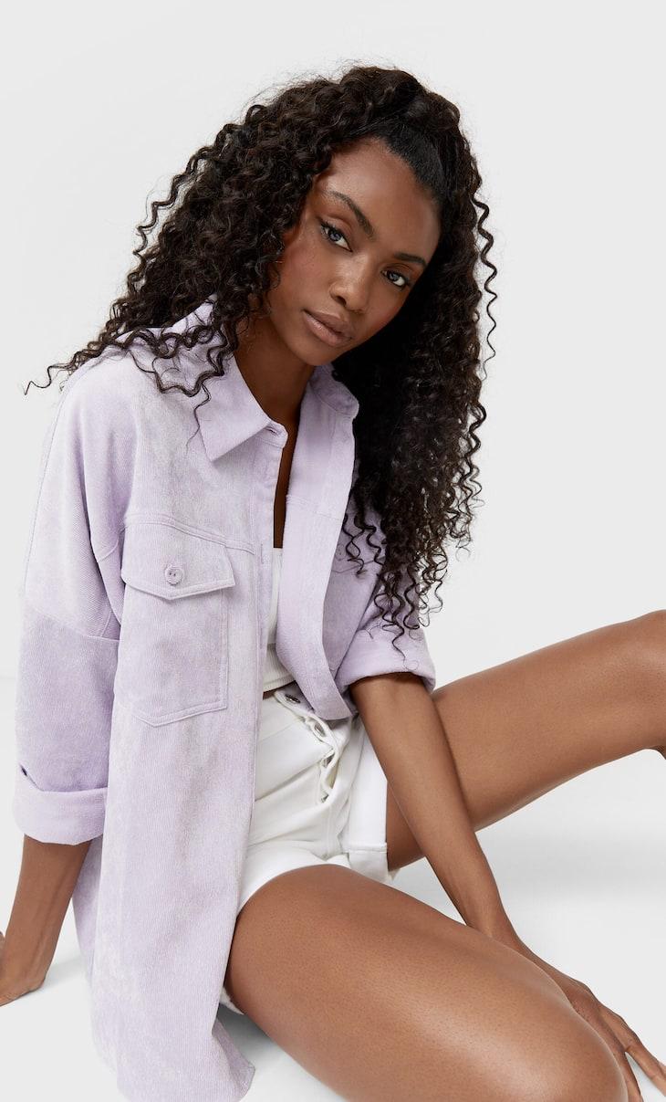 Вельветовая плотная рубашка