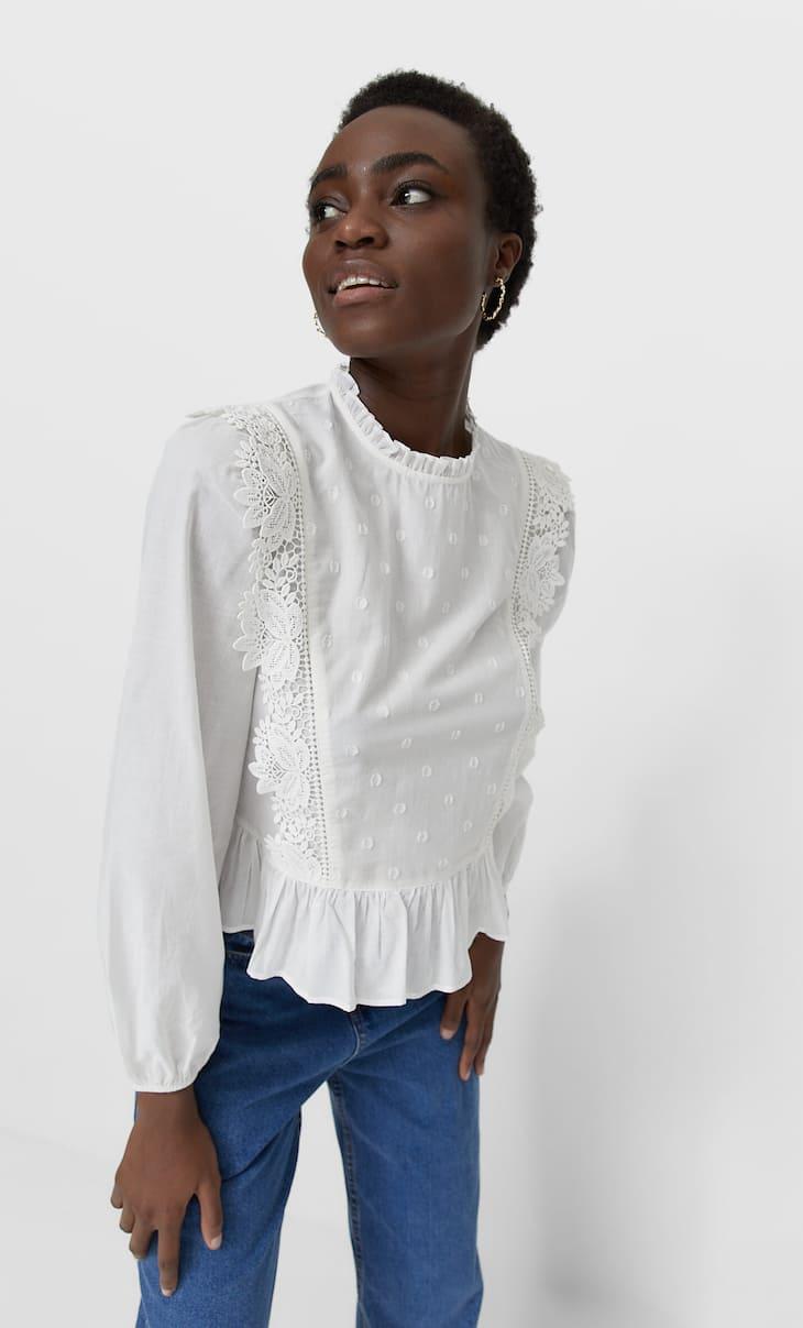 Lace-trimmed romantic blouse