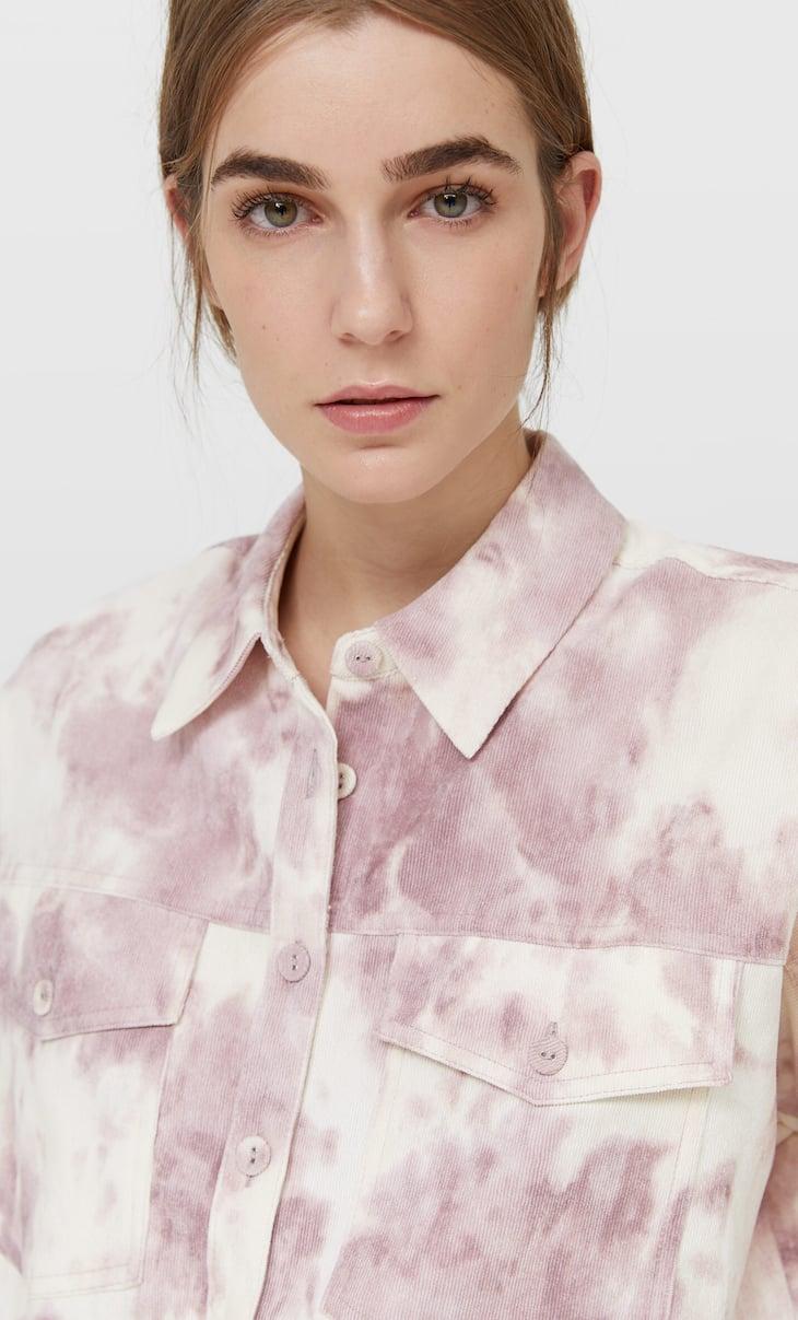 Tie-dye corduroy overshirt