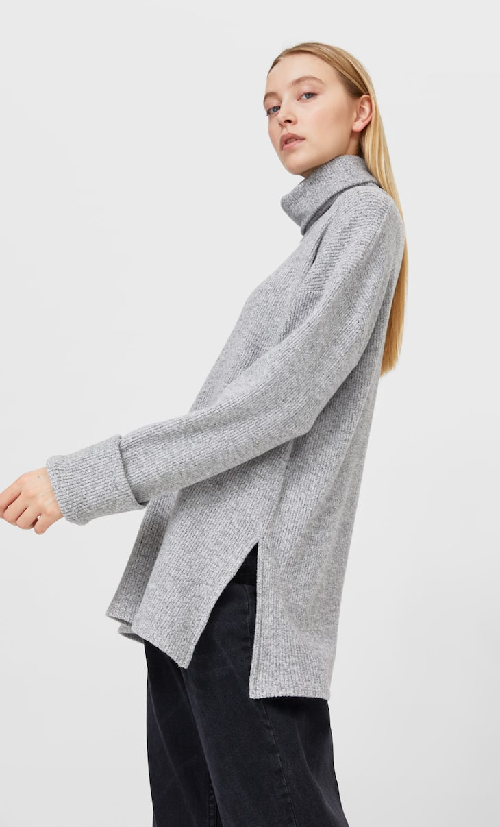 Napped cotton turtleneck sweater