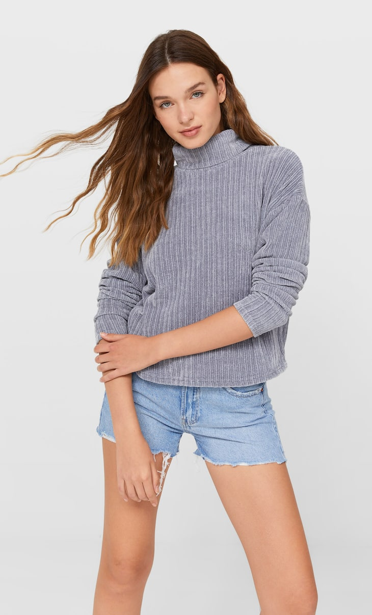 High neck chenille sweater