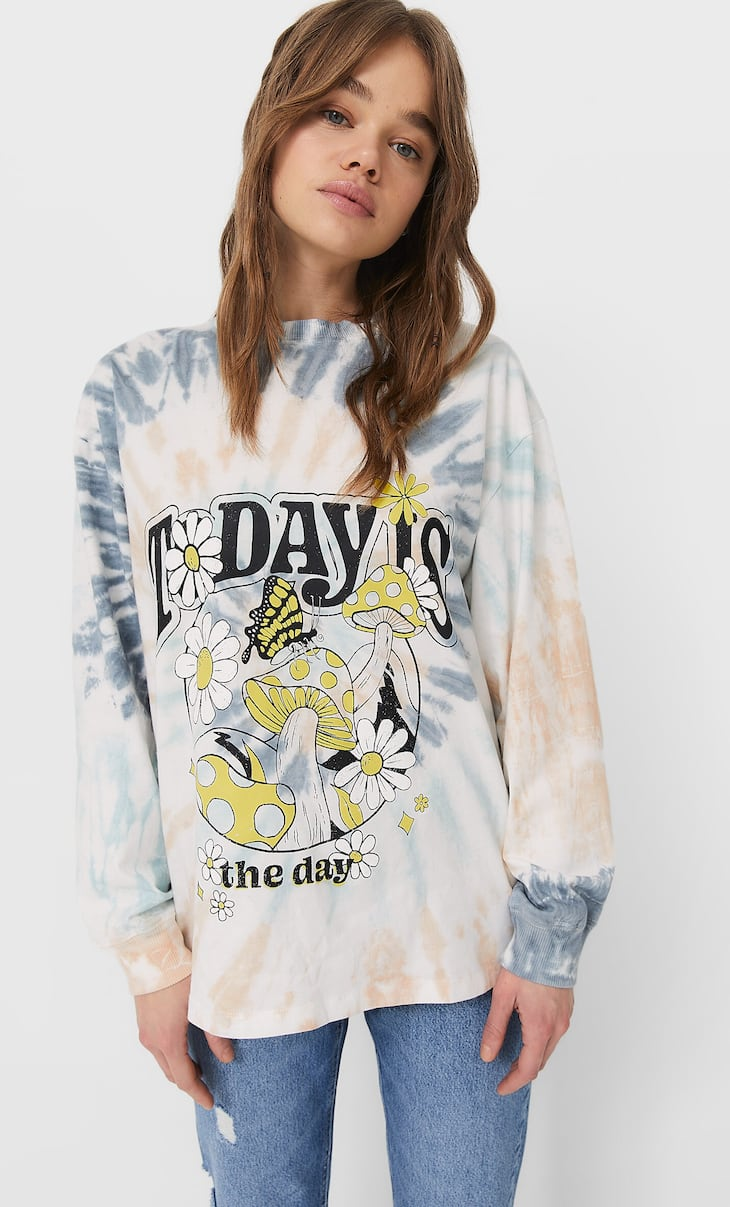 Long sleeve tie-dye T-shirt