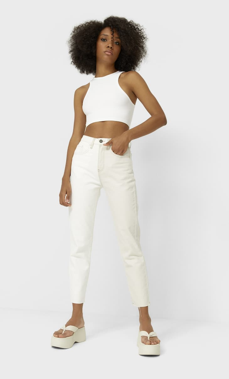 Mom fit colour block jeans