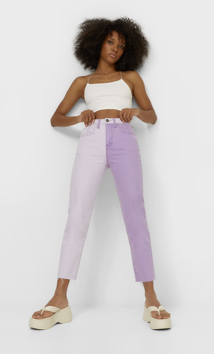 Jeans mom fit color block