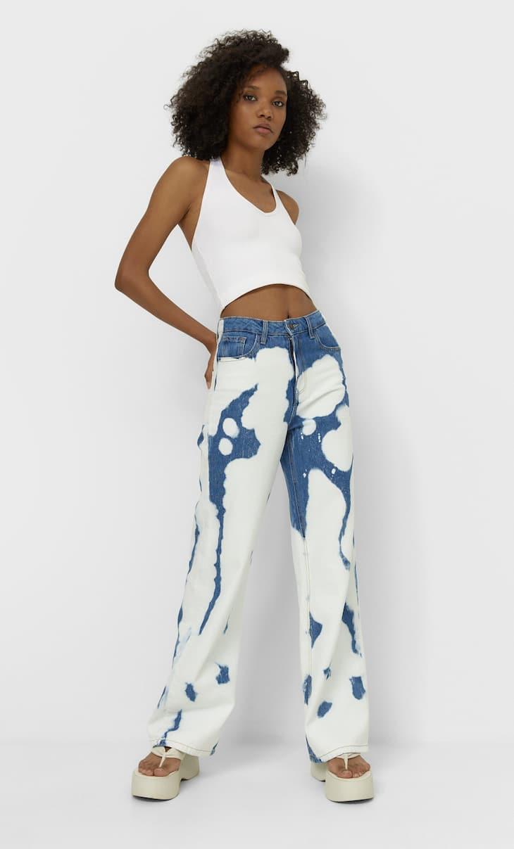 Straight-fit tie-dye jeans