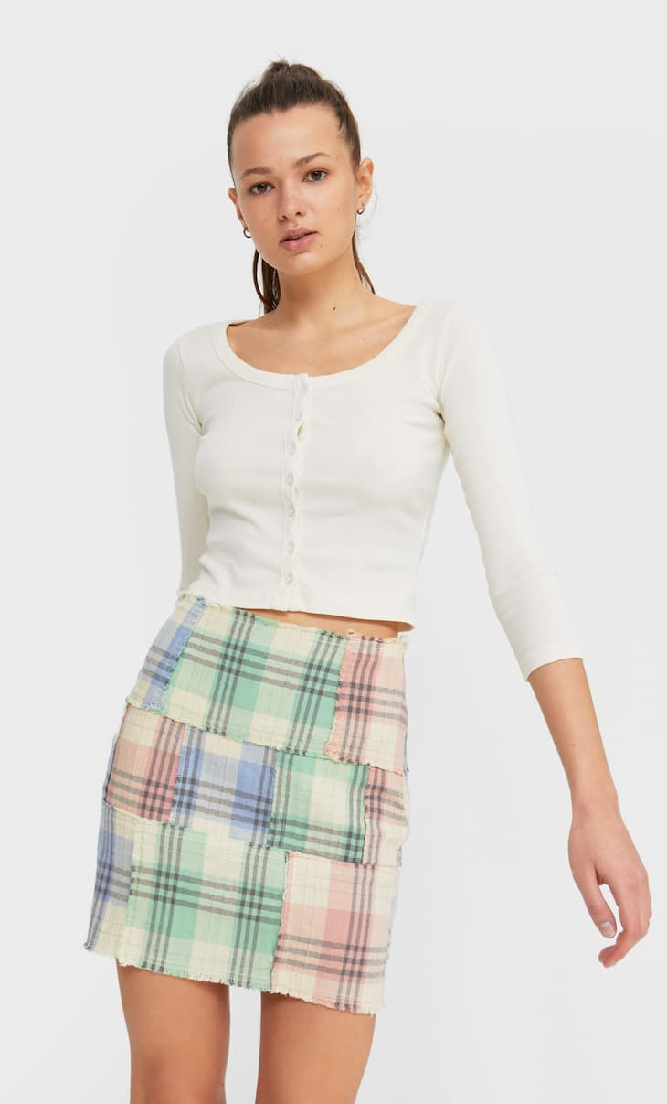 Checked patchwork skirt