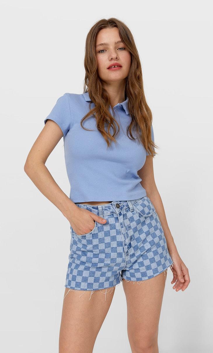 Chequered denim shorts