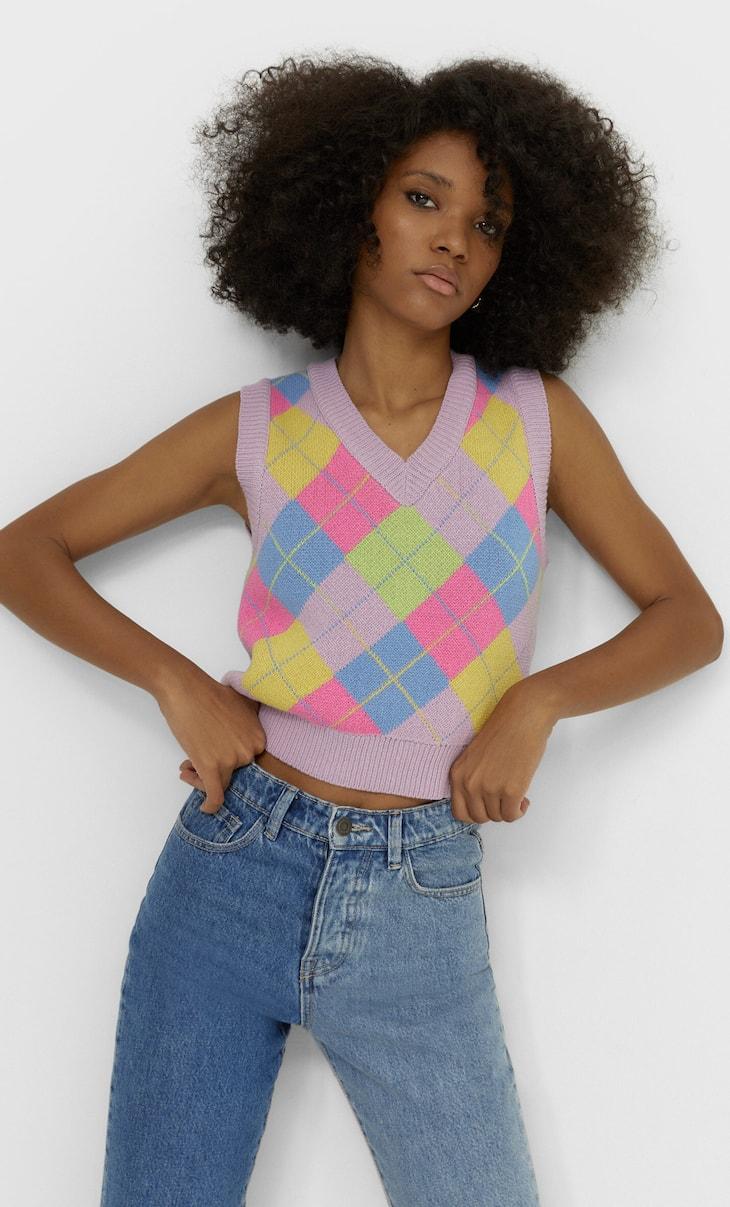 V-neck argyle vest