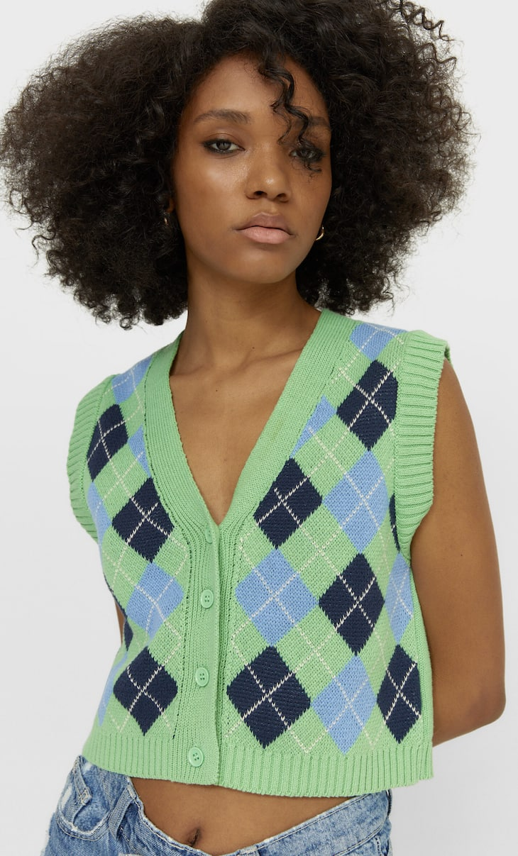 Buttoned cropped vest