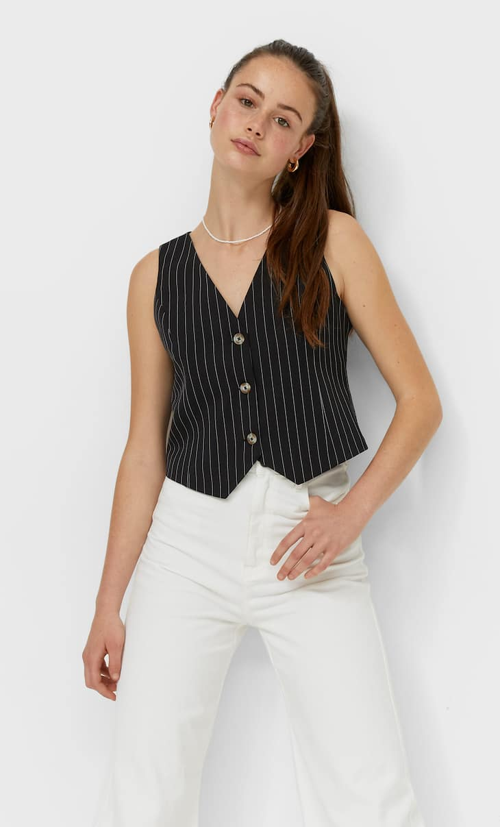 Fitted striped waistcoat