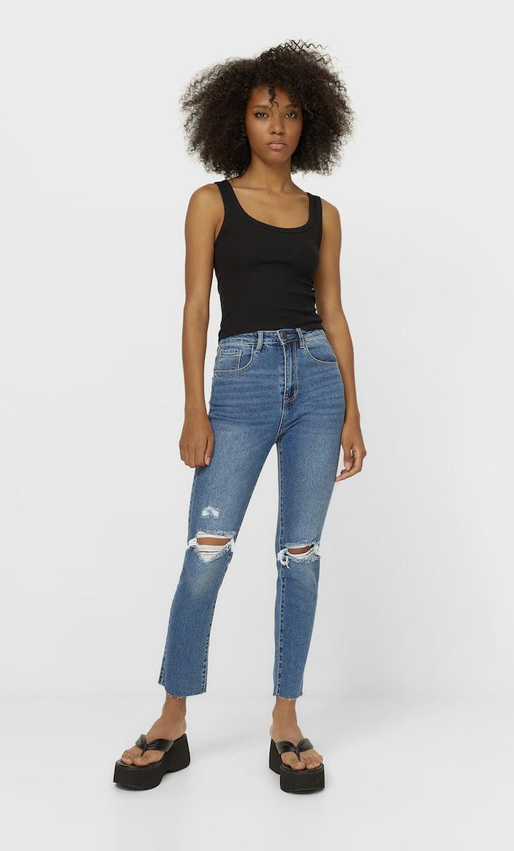 Jeans de cintura subida slim fit