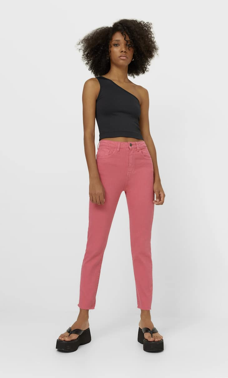 Coloured high-waist jeans