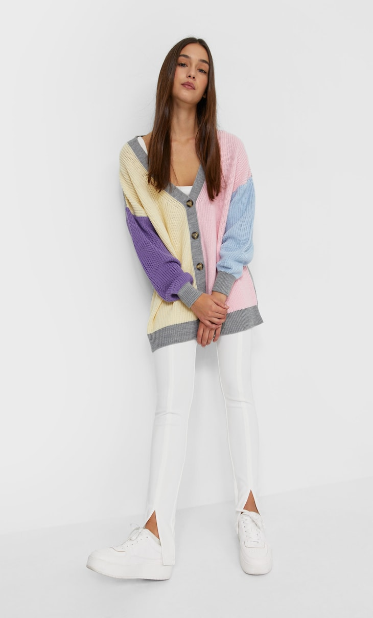 Oversized colour block cardigan
