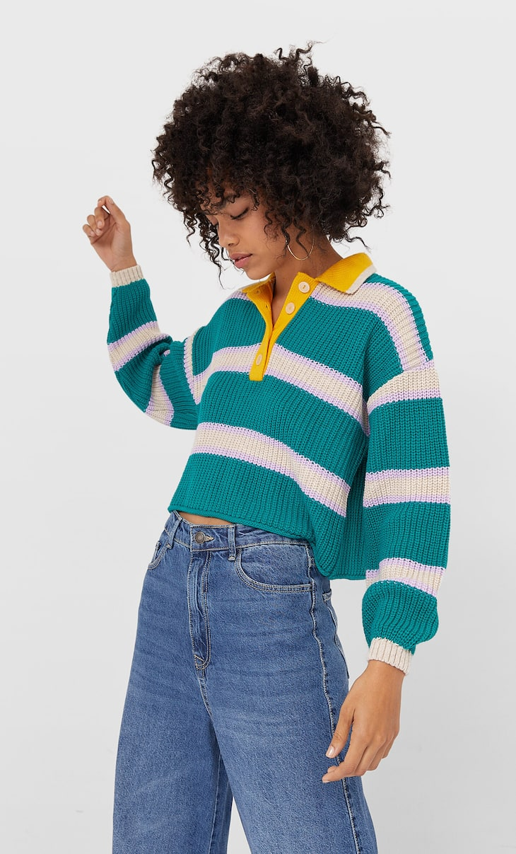 Striped polo sweater
