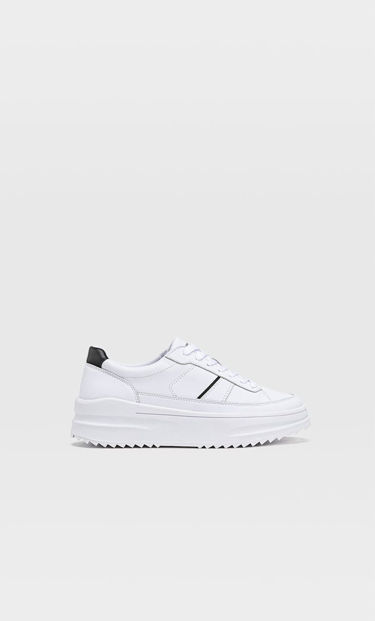 Flatform trainers with piece detail and track soles