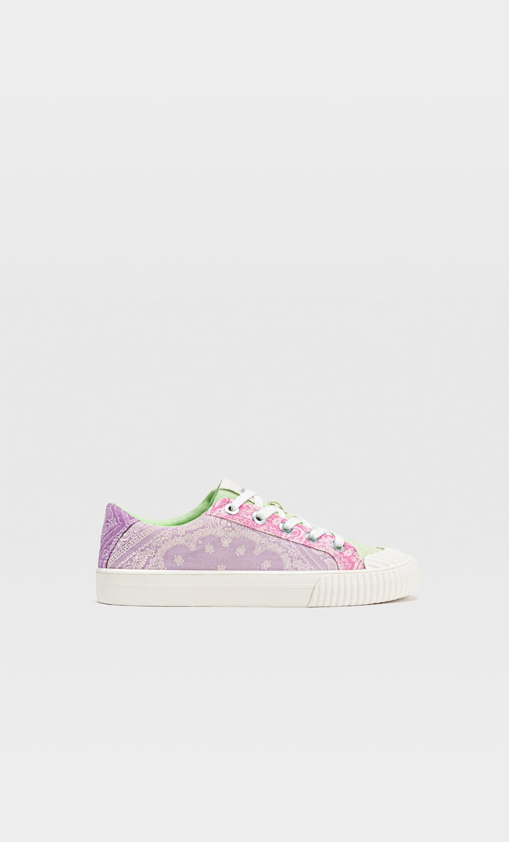 Colourful scarf-print trainers