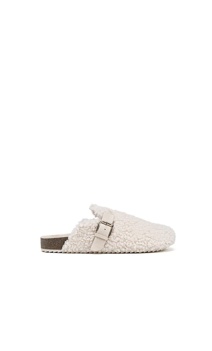 Faux shearling house clogs