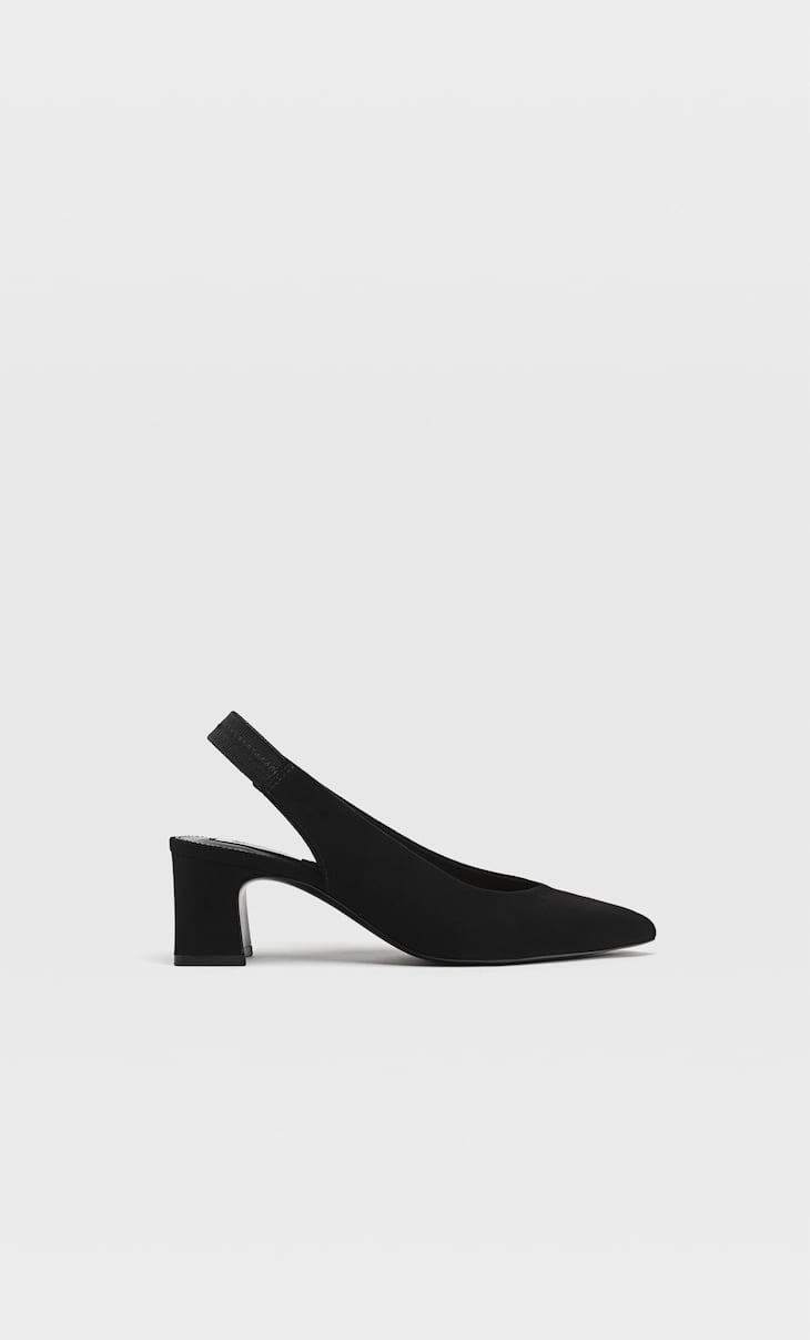 Heeled slingback shoes with a pointed toe