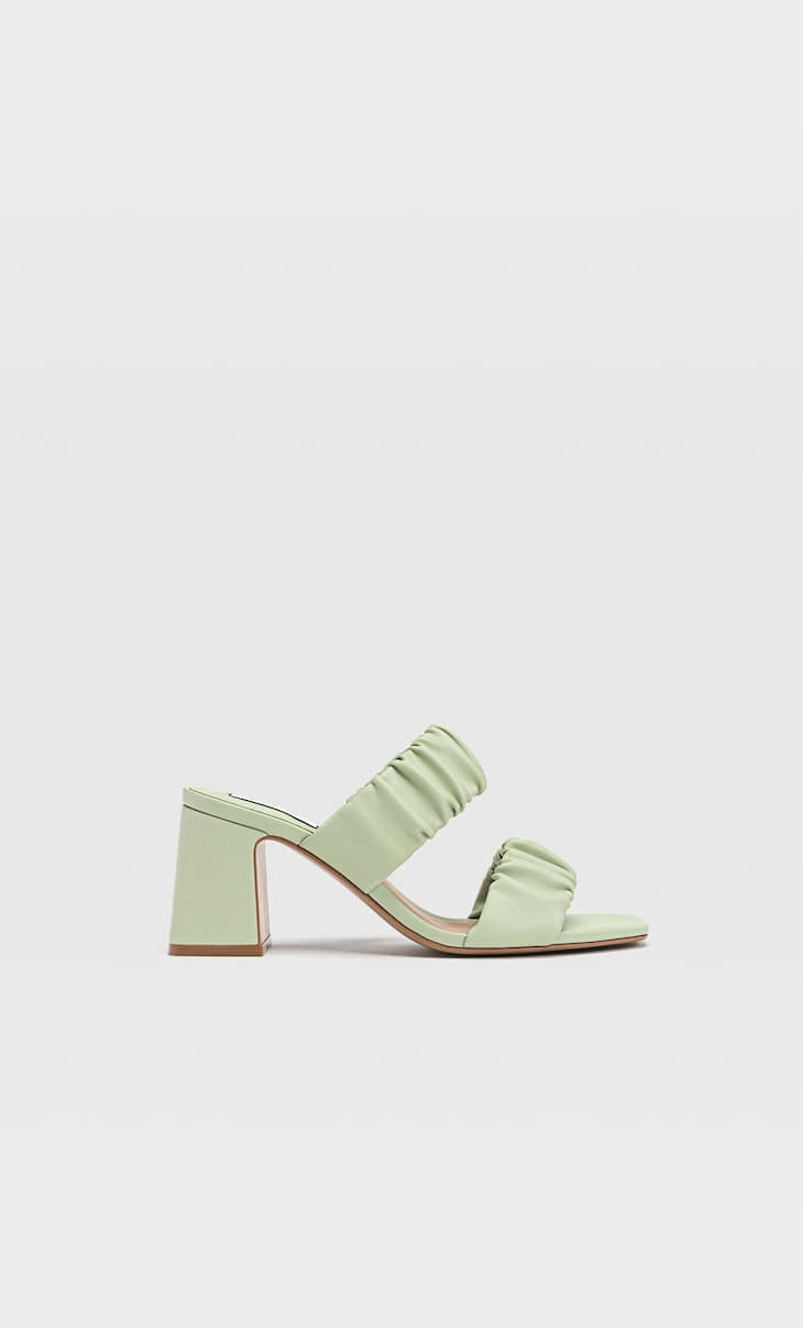 Heeled sandals with ruched double strap